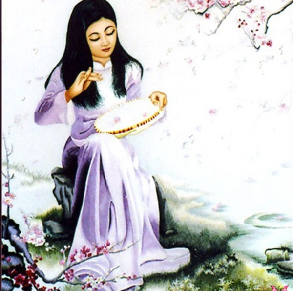 chi tiết tranh thêu tay bên thác hoa đào