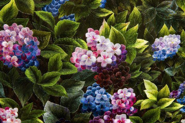 chi tiết tranh thêu tray hoa cẩm tú cầu Mhoa0134