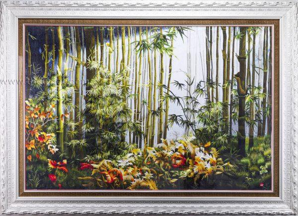 tranh thêu tay phong cảnh rừng trúc MPC0095