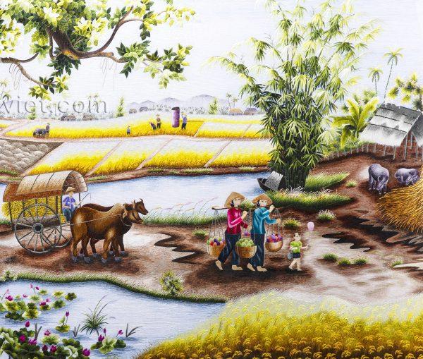Tranh thêu cao cấp Quê Hương Thanh Bình (MPC0023) 1