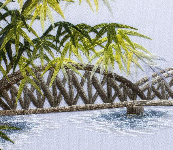 chi tiết Tranh thêu phong cảnh Cầu Tràng Tiền MPC0102