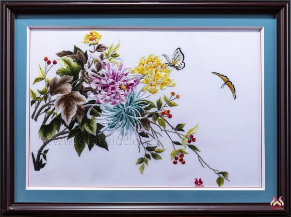 tranh thêu tay hoa cúc MHOA0160