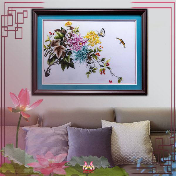 tranh thêu tay hoa cuc MHOA0160