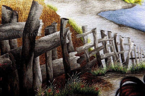 chi tiết tranh thêu tay phong cảnh làng quê MPC0129