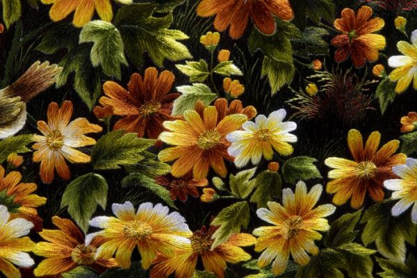 chi tiết tranh thêu tay phong cảnh rừng hoa conico
