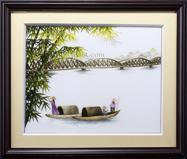 Tranh thêu phong cảnh Cầu Tràng Tiền MPC0102