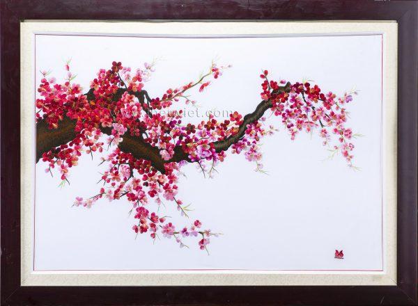 Tranh thêu tay hoa đào MHOA0009