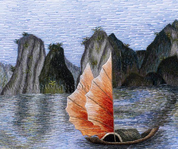 Tranh thêu tay Vịnh Hạ Long (MVHL0018) 2