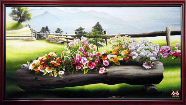 tranh thêu tay Hoa Xuân (MHOA0021) 1