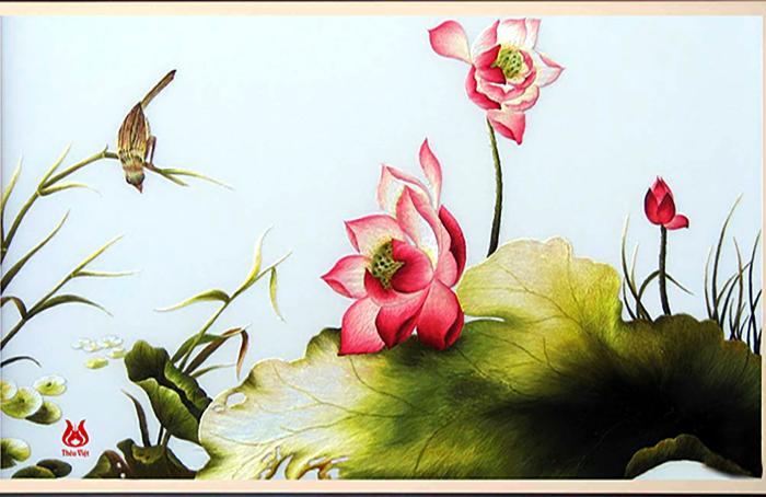 Tranh thêu hoa sen (MSEN0035)