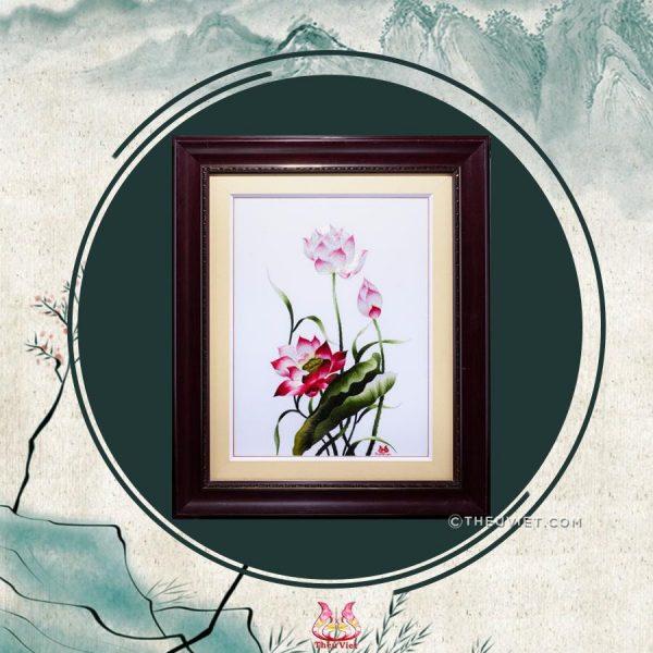 tranh thêu tay cao cấp hoa sen Msen0044