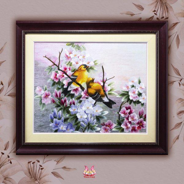 Tranh thêu tay Hoa và Chim Vàng Anh (MHOA0199) 2