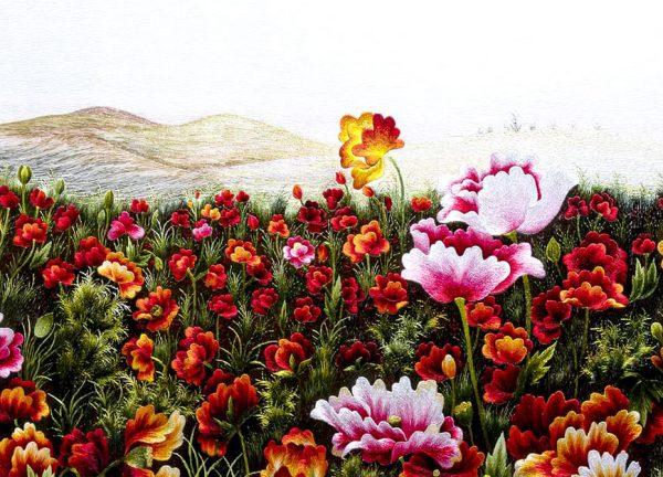 chi tiết tranh thêu tay hoa conico MHOA0072