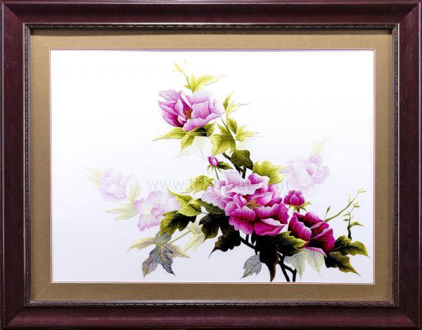 tranh thêu tay hoa mẫu đơn MHOA0045