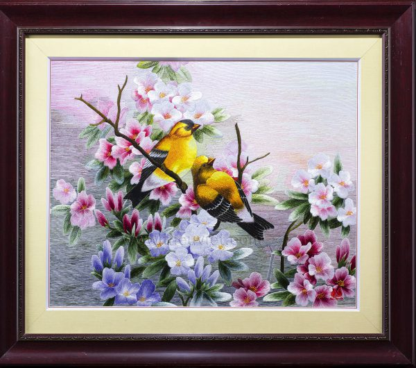 Tranh thêu tay Hoa và Chim Vàng Anh (MHOA0199) 1