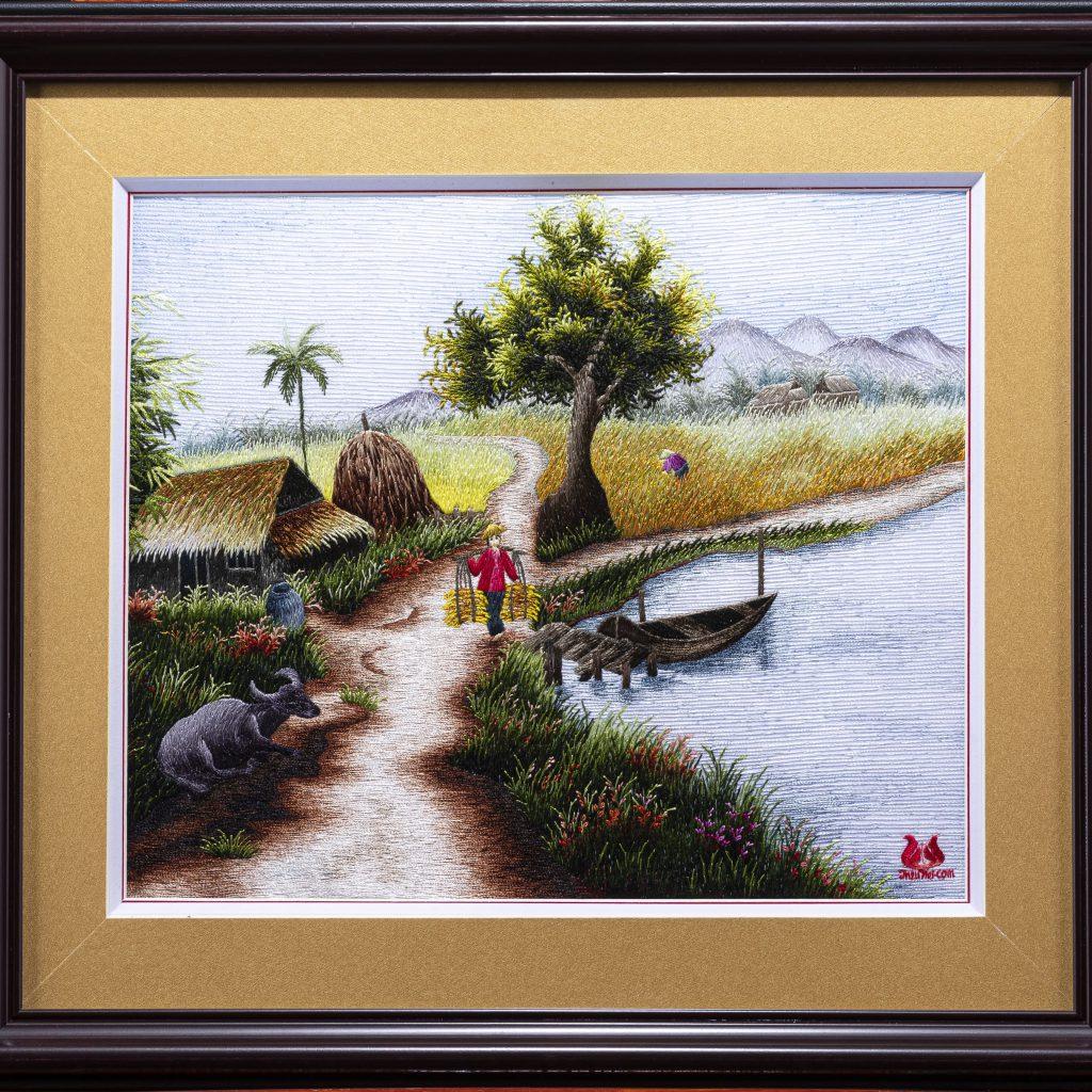 Tranh thêu tay làng quê (MPC0061) 1