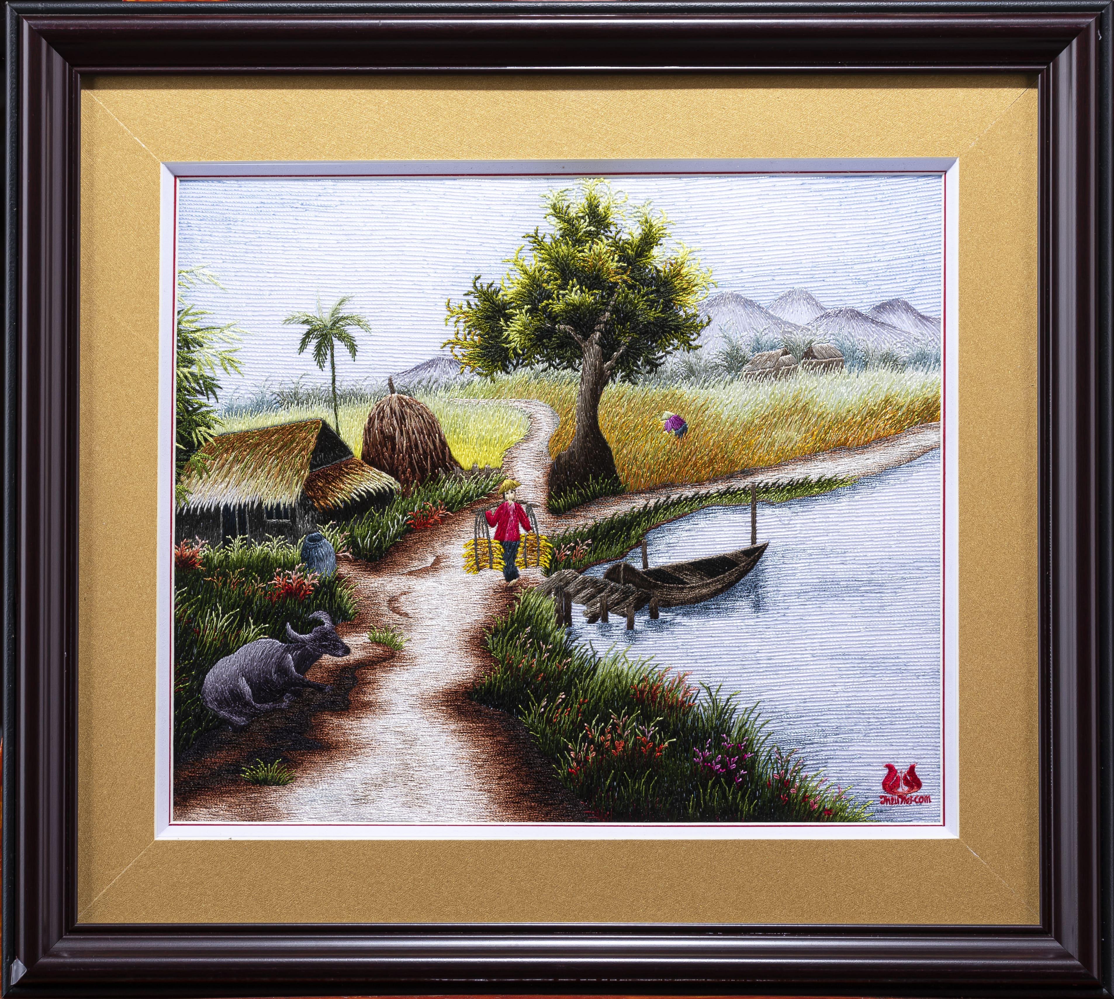 Tranh thêu tay làng quê (MPC0061)