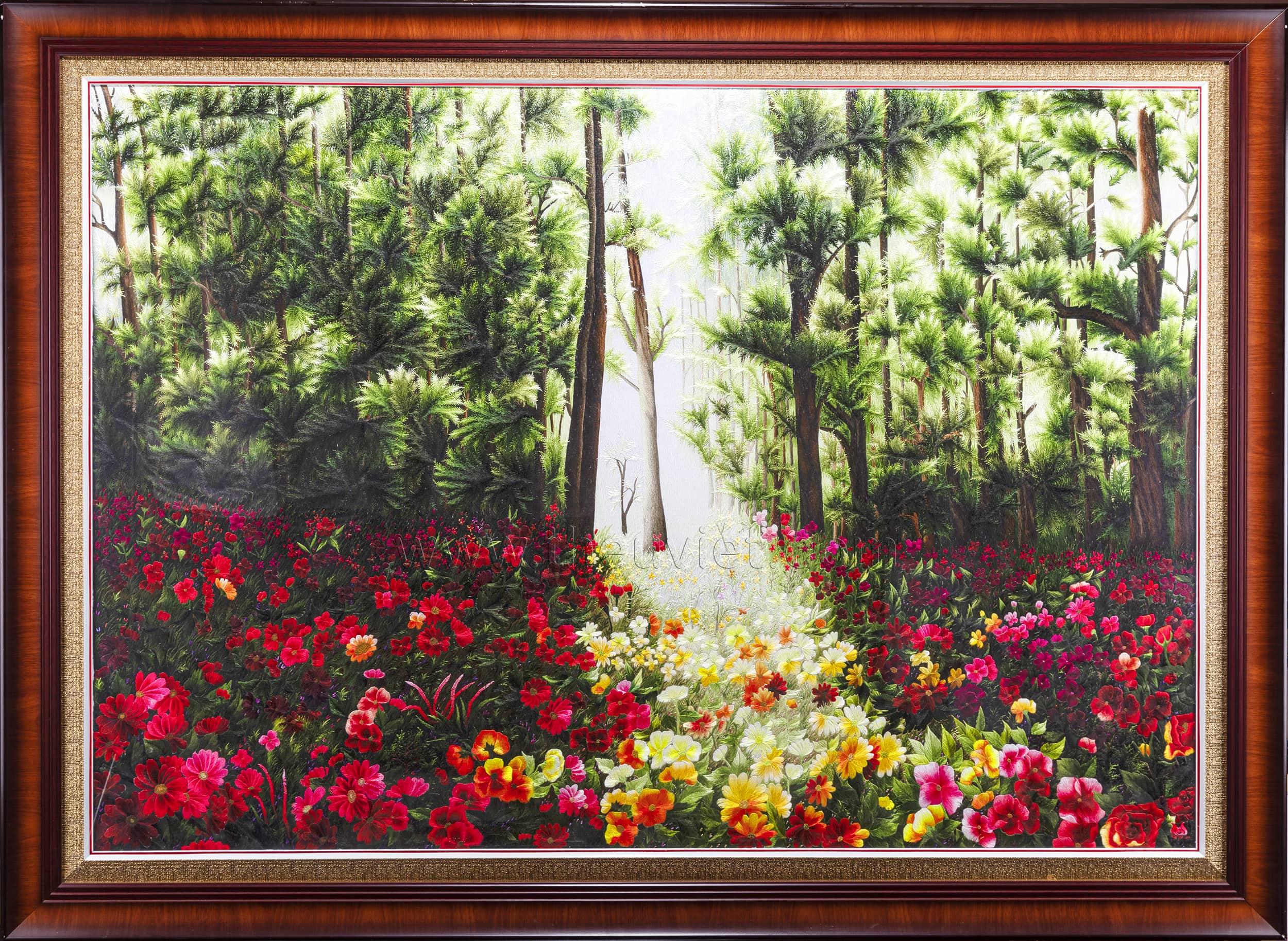 Tranh thêu tay phong cảnh Rừng Hoa (MPC0032)