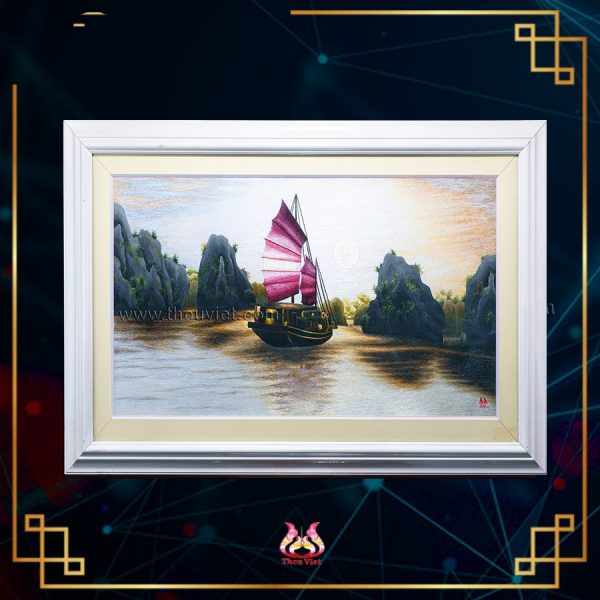 chi tiết Tranh thêu tay Vịnh Hạ Long MVHL0015