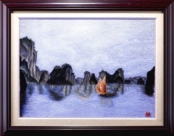 Tranh thêu tay Vịnh Hạ Long (MVHL0018) 1
