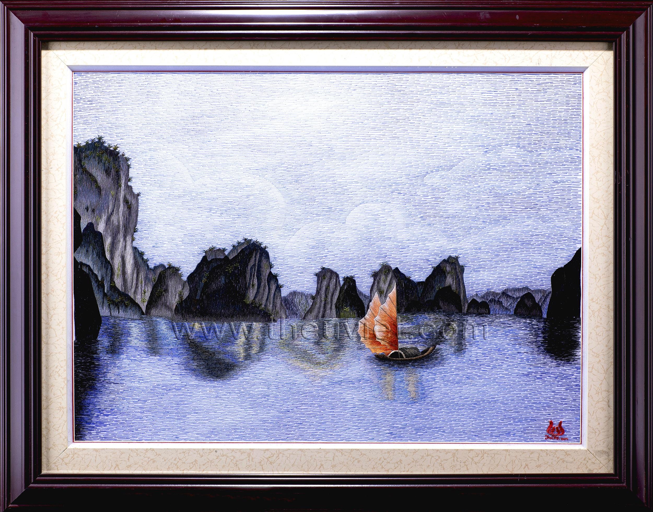 Tranh thêu tay Vịnh Hạ Long (MVHL0018)