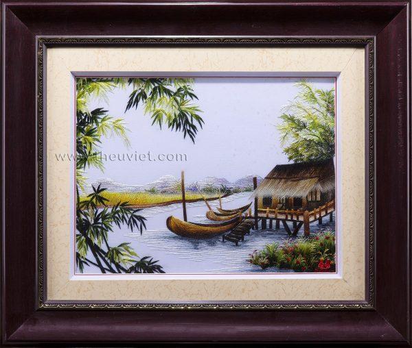 Tranh thêu tay phong thủy Tùng Hạc (MPT0027) 2
