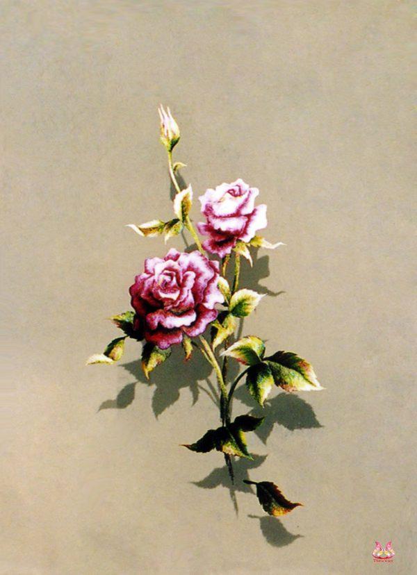 tranh theu tay hoa hong (MHOA0122) 1