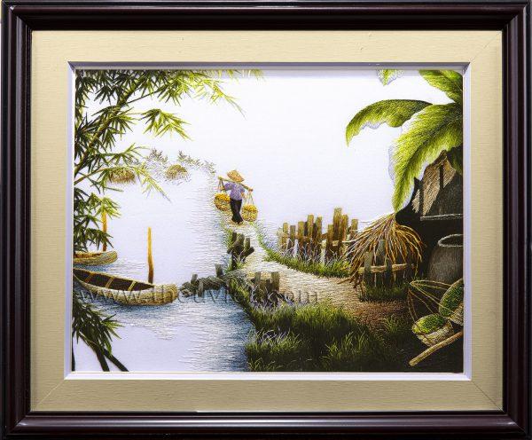 Tranh thêu tay phong cảnh làng quê (MPC0260) 1