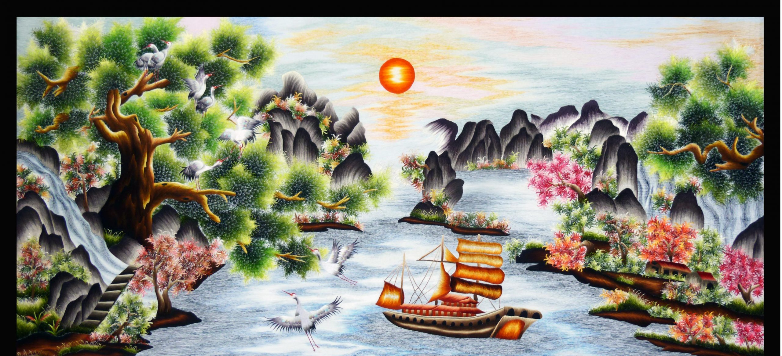 Tranh thêu thuận buồm xuôi gió và ý nghĩa phong thủy trong năm 2020 6