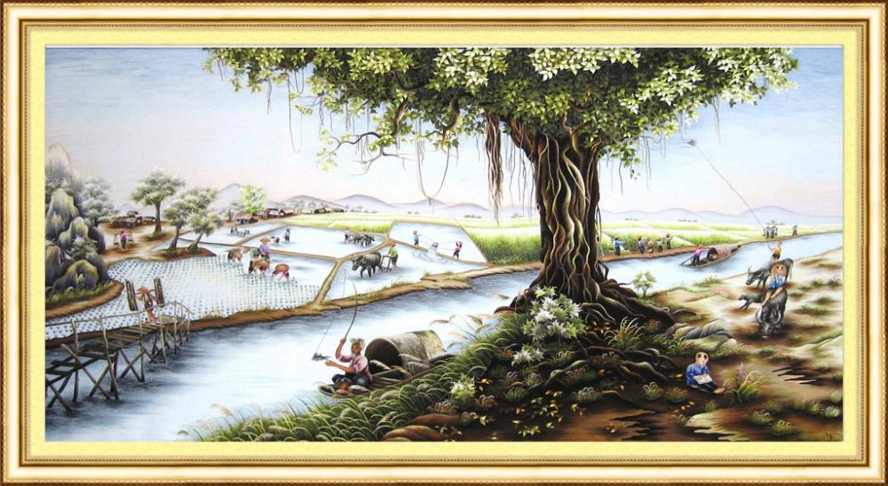 Ý nghĩa Tranh thêu cây đa giếng nước sân đình trong năm 2020 9