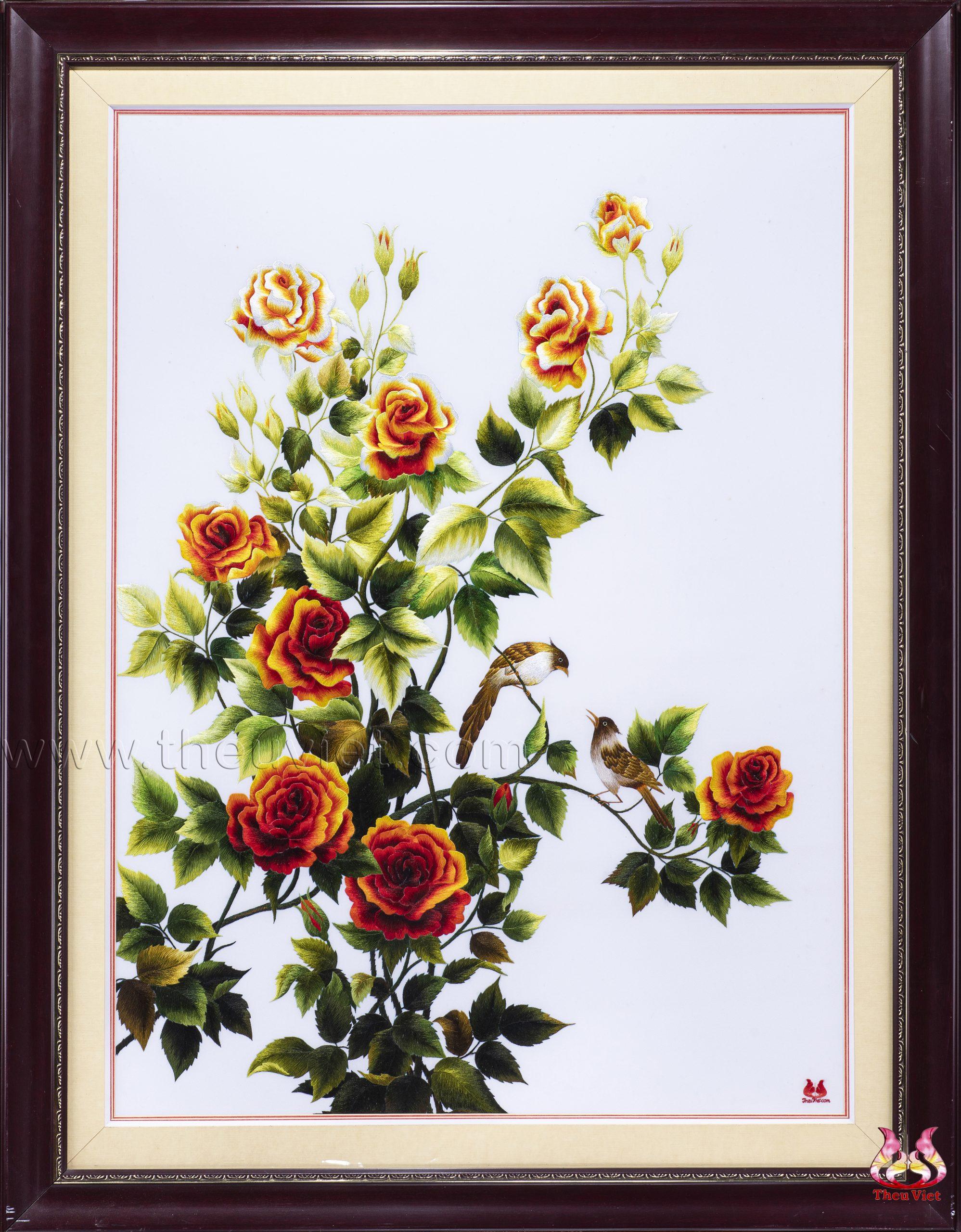 Tranh thêu hoa hồng và những ý nghĩa thú vị. 1