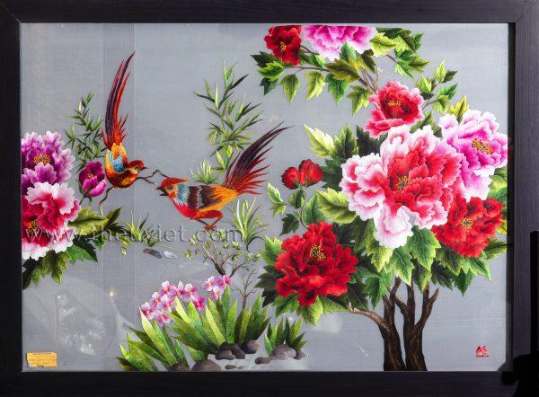 tranh thêu tay 2 mặt hoa mẫu đơn