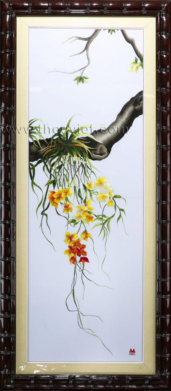 Tranh thêu tay hoa lan bộ cội rễ MBO0002