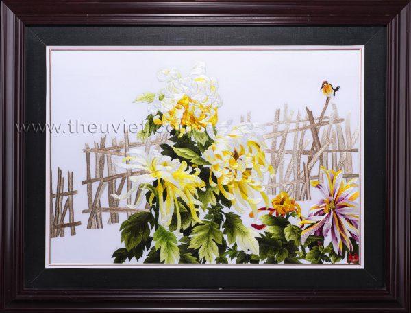 tranh thêu hoa cúc MHOA0165