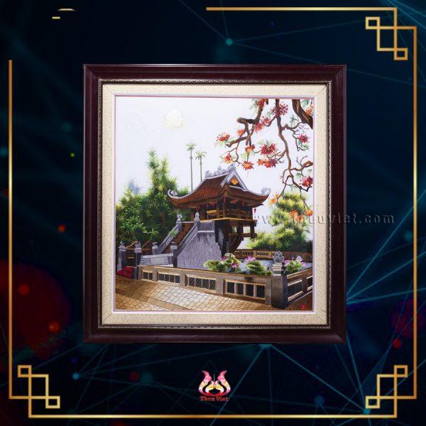 tranh thêu tay chùa một cột MCMC0001
