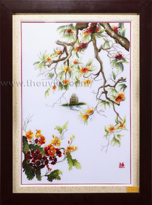 Tranh thêu tay hồ gươm hoa phượng MHG0004