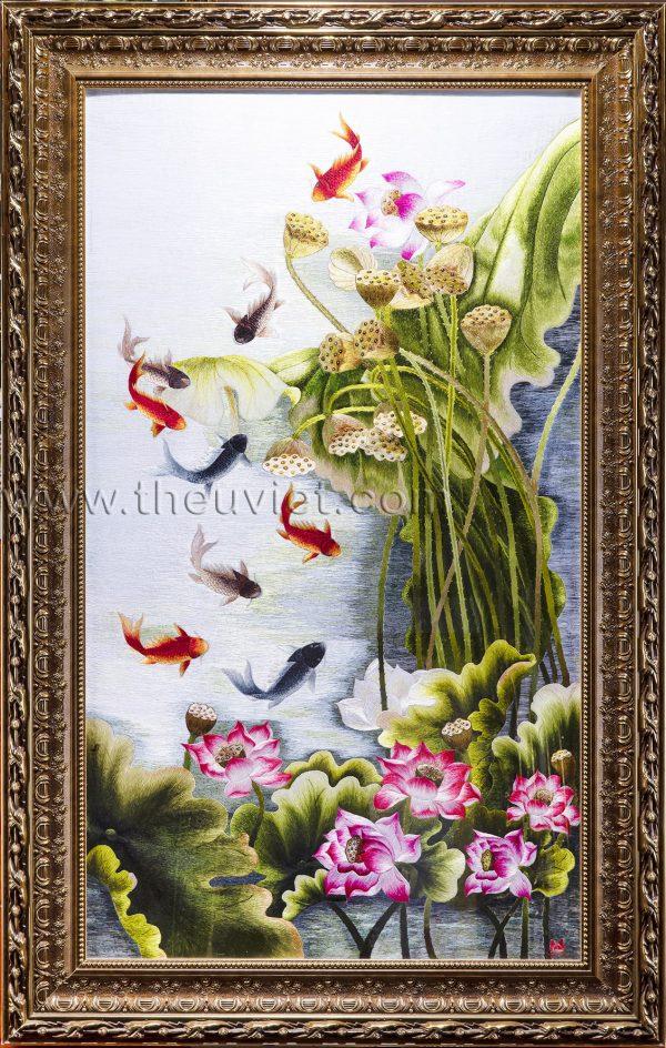 tranh thêu tay phong thủy hoa sen cá chép MSEN0078
