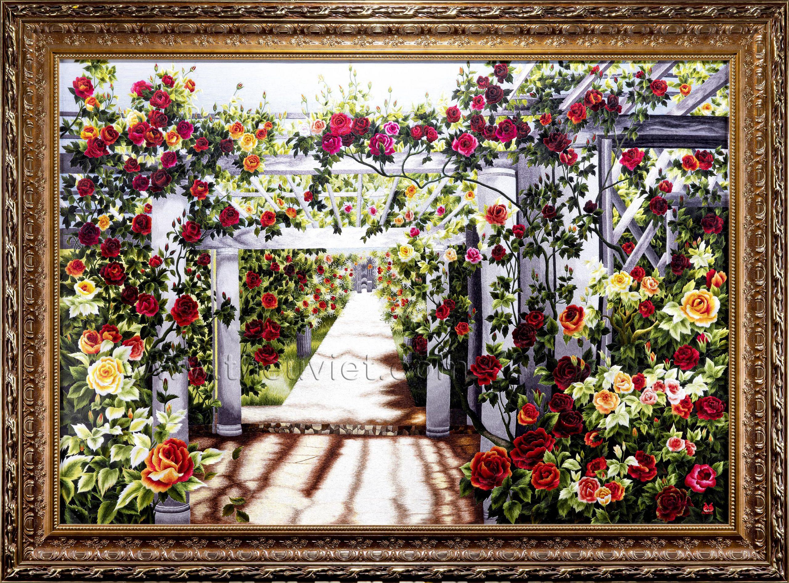 Tranh thêu hoa hồng và những ý nghĩa thú vị. 9