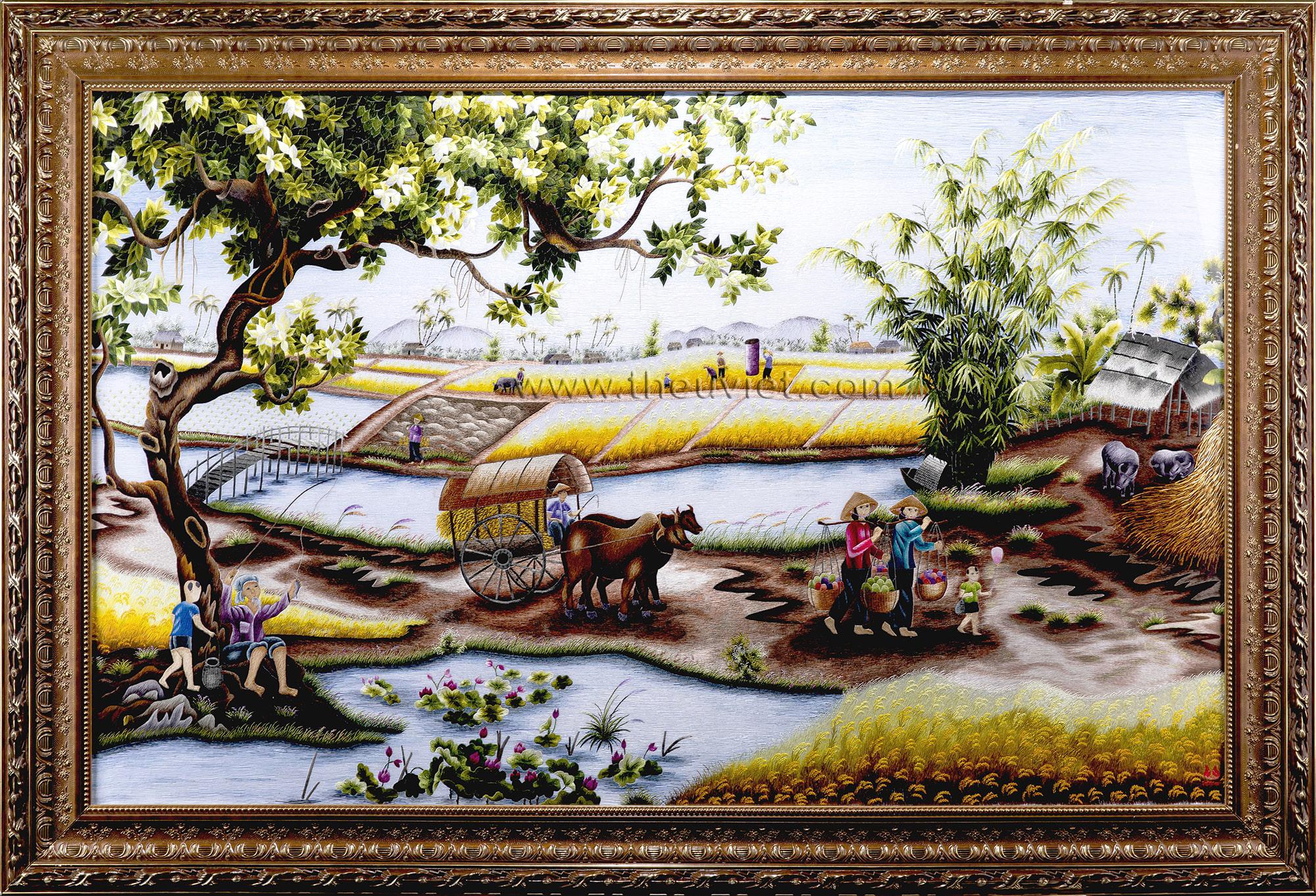Tranh thêu phong cảnh làng quê Việt Nam ý nghĩa trong năm 2020 3
