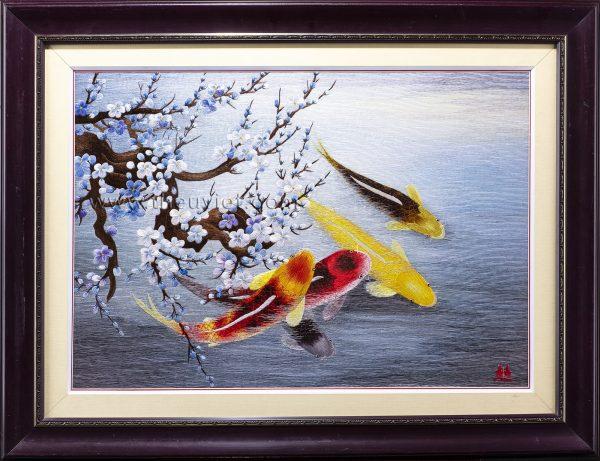 tranh thêu tay cá chép hoa đào MHOA0197