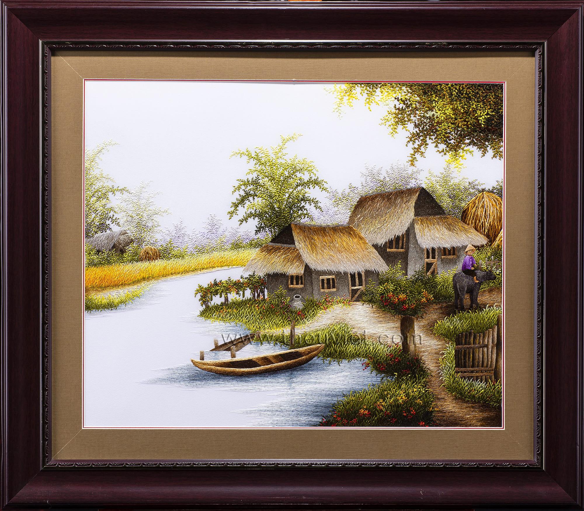 Tranh thêu phong cảnh quê hương (MPC0059)