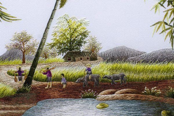 Tranh thêu phong cảnh làng quê (MPC0009) 1