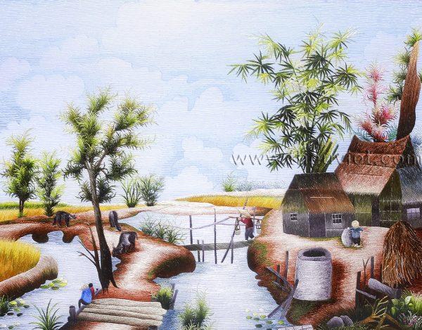 Tranh thêu phong cảnh quê hương (MPC0093) 1