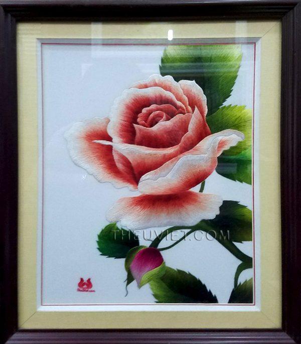 tranh thêu tay hoa hồng MHOA0030