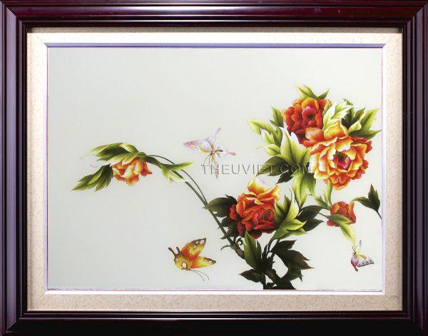 tranh thêu hoa mẫu đơn MHOA0010