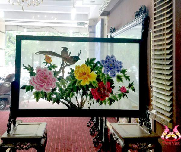 tranh thêu hai mặt hoa mẫu đơn MHOA0033