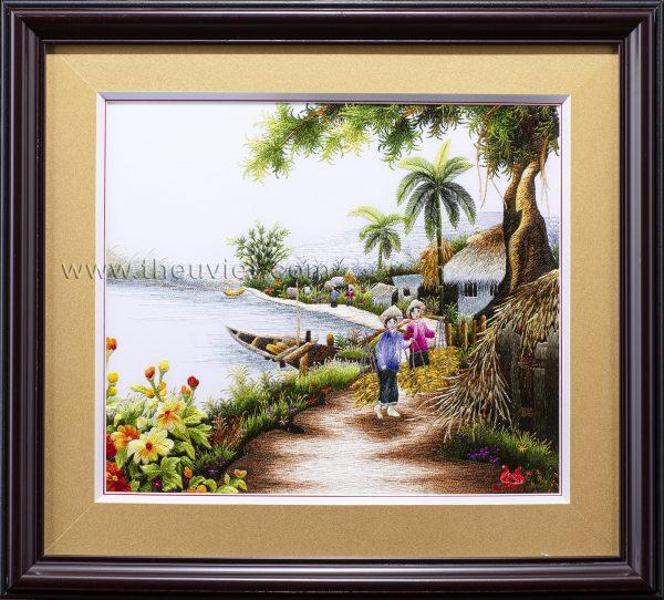 tranh thêu tay phong cảnh quê hương MPC0063