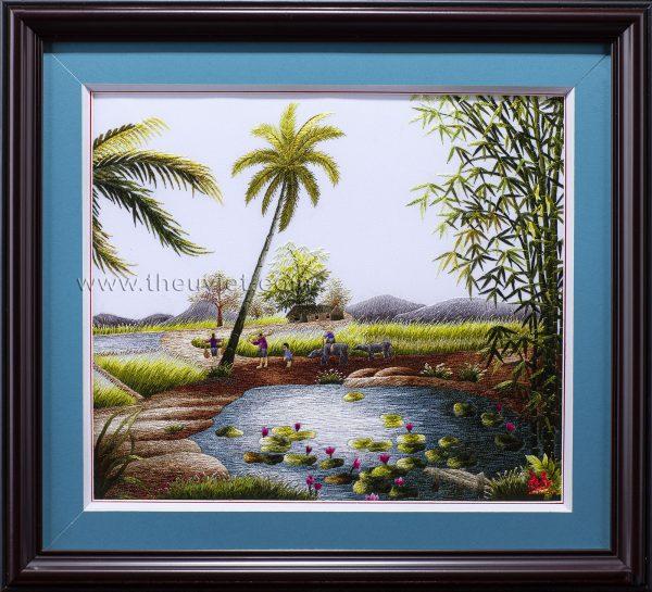 tranh thêu tay phong cảnh làng quê MPC0009