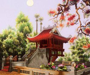 Tranh thêu chùa một cột và những ý nghĩa đặc biệt trong phong thủy