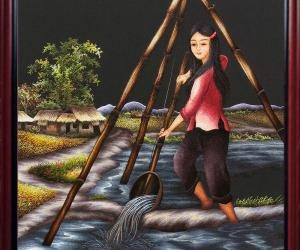 Hand-embroided picture: The girl's scooping water in front of the temple
